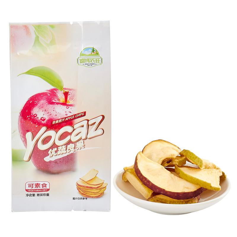德伟农庄优蔬良果苹果脆片孕妇儿童零食苹果干散装手抓包300g包邮
