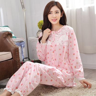 春秋季新款女士棉质长袖长裤睡衣卡通休闲可爱学生简约家居服套装