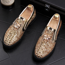 European and American Men's Leather Shoes Trend Lefu Shoes Hairstylist Leisure Lifting Lazy Men's Single Shoes Riveted Sequins Low-Up Men's Shoes