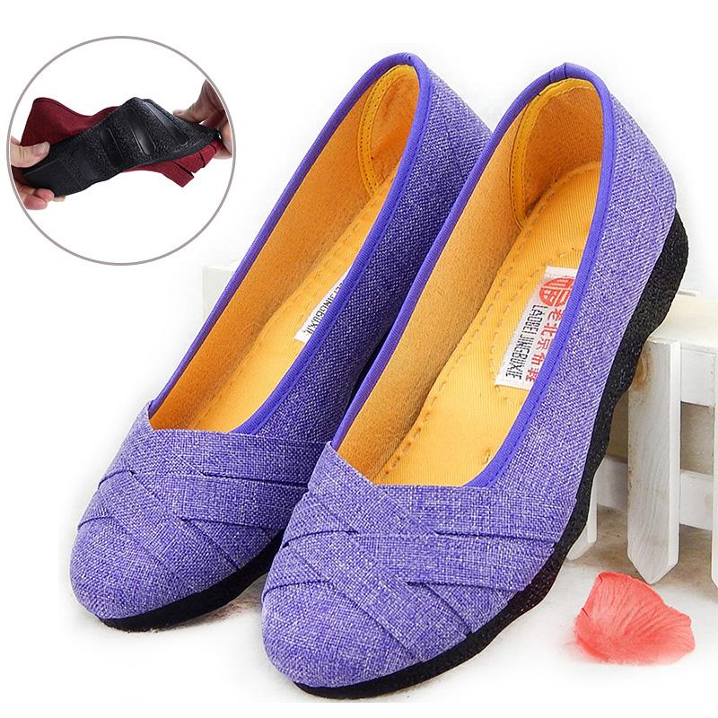 春秋款老北京布鞋女单鞋豆豆鞋平底鞋套脚妈妈鞋软底防滑孕妇女鞋