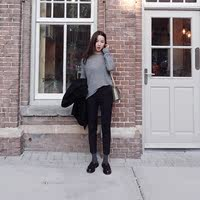 18 autumn and winter Korean version of the high waist lady gray new woolen trousers female Slim feet thin nine points tapered pants