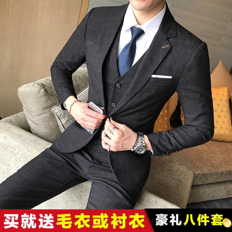 冬季 伴郎团新郎正装 男三件套韩版 修身 职业装 青年休闲西装 西服套装