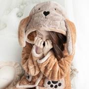 睡衣女冬季加厚可爱卡通连帽珊瑚绒三层夹棉保暖法兰绒韩版家居服