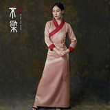 Non-dyed nylon cotton pink black Tibetan women's daily Tibetan clothes are long sleeves