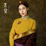 Not dyed Tibet Tibetan style ginger yellow white shirt Tibetan women edging top Tibetan clothes female national wind