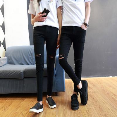 牛仔裤男破洞小脚裤男士紧身哈伦裤黑色修身弹力裤子情侣牛仔长裤