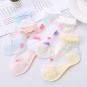 女孩袜子 儿童水晶袜夏季薄款 宝宝袜超薄花边纯棉透气女童冰丝短款图片