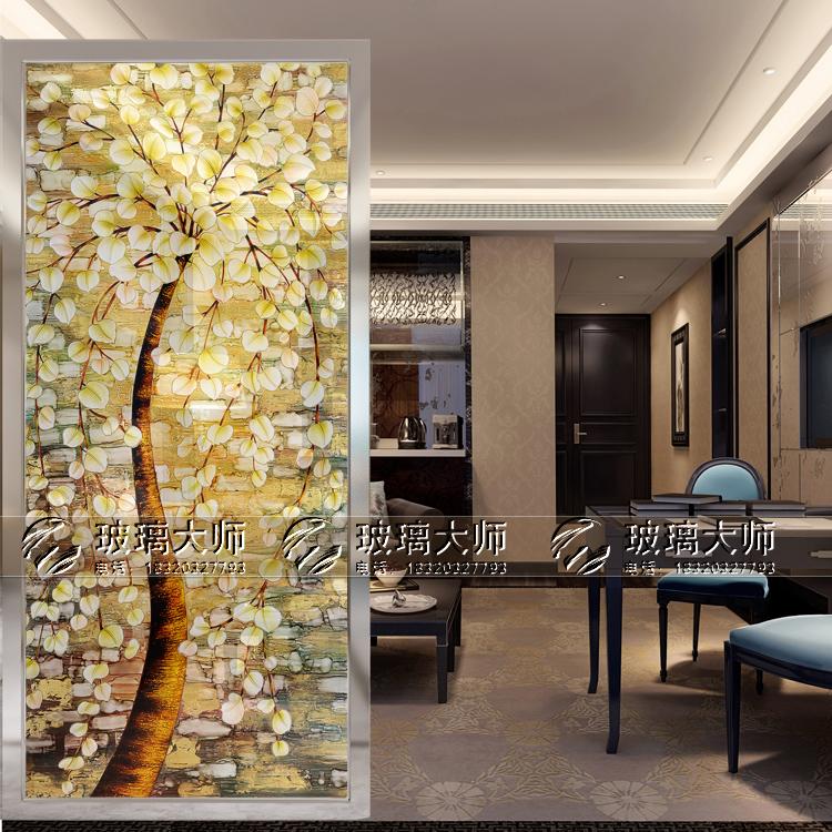 促销带框屏风钢化艺术玻璃现代风格移门玄关隔断推拉门纯手工雕刻