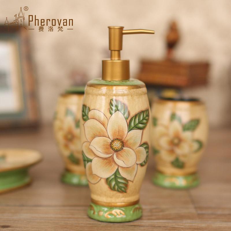 费洛梵 美式木兰花陶瓷卫浴5件套装摆件 时尚居家浴室用品套件