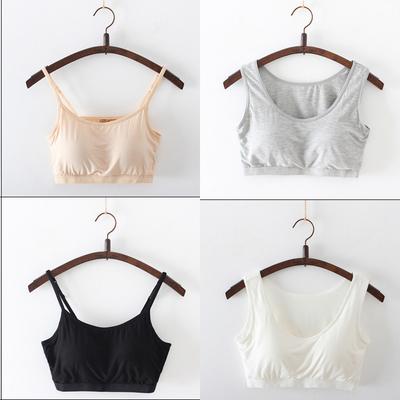 精品莫代尔小背心吊带带罩杯一体文胸运动瑜伽无钢圈抹胸少女短款