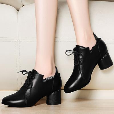 2018新款春秋季皮鞋女系带尖头中跟单鞋女粗跟黑色英伦风高跟鞋