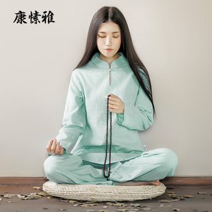 康愫雅秋冬季中国风竹节棉麻瑜伽服套装禅修服居士服女运动服