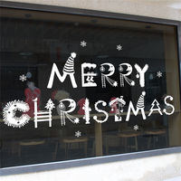 Christmas Pendant Window Static Sticky Glass Sticker No Trace Shop White Snow Ball Bell Snowflake Decoration Applique