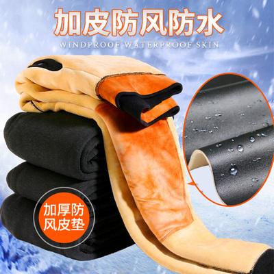 冬季男士保暖裤加厚加绒东北内穿毛裤超特厚大码修身加皮驼绒棉裤