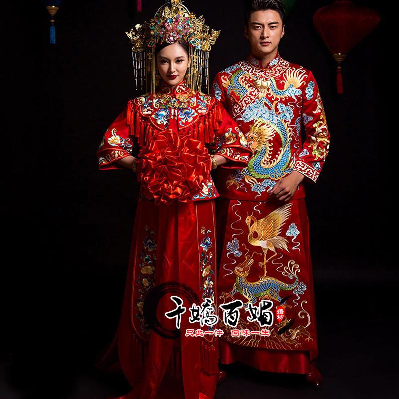 春秋新款男士秀禾服新郎中式礼服结婚嫁衣敬酒服装婚纱照摄影写真