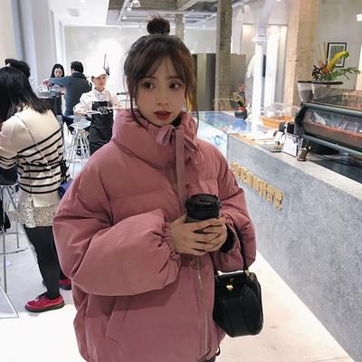 定制珍珍韩版学生宽松纯色立领抽绳棉服2018冬季面包服棉衣外套女