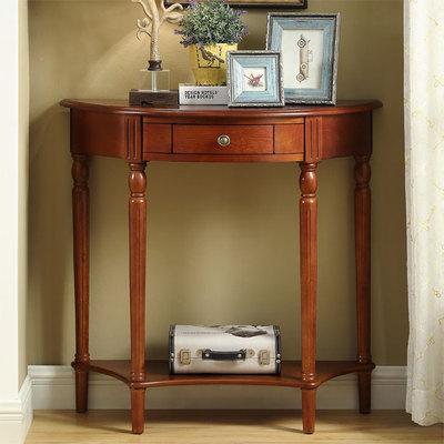 美式实木玄关桌半圆靠墙桌欧式走廊桌子玄关台墙边桌玄关柜装饰桌