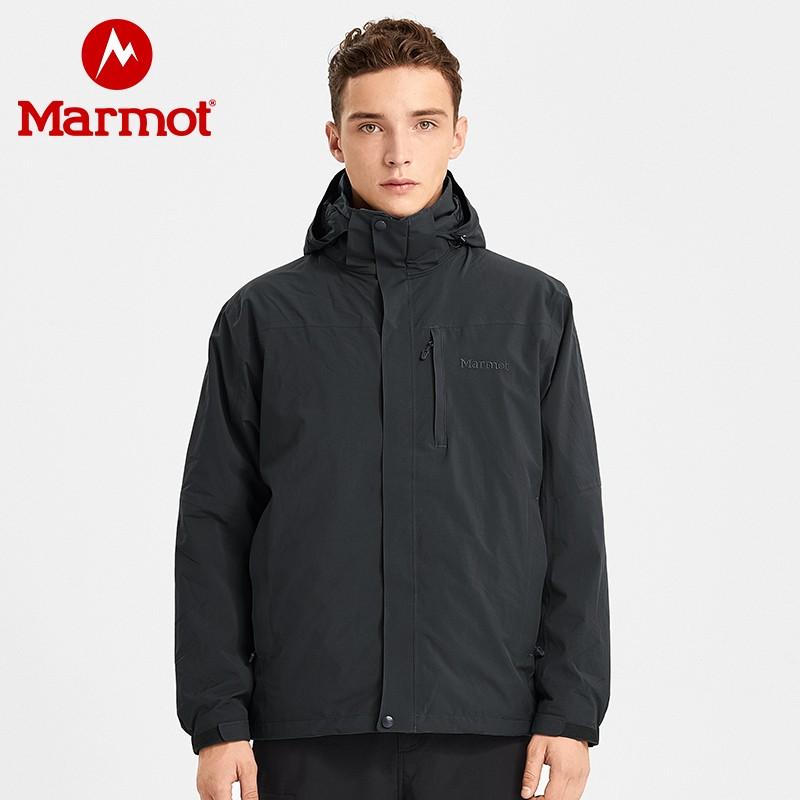 marmot土拨鼠2019秋冬新品户外防水保暖透气抓绒男式三合一冲锋衣