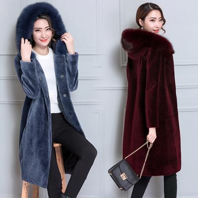 皮草外套女胖mm200斤中长款加肥加大码狐狸毛显瘦羊剪绒连帽大衣