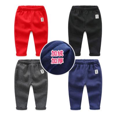 宝宝纯色裤子 2018冬装新款童装男童装儿童加厚加绒长裤子kz-7601