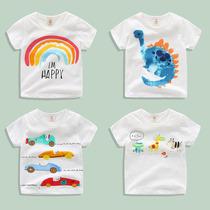 宝宝短袖T恤2019夏装新款男童女童童装儿童卡通圆领上衣tx-8203