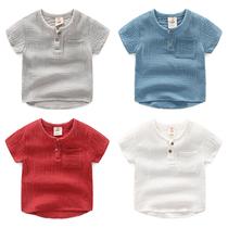 宝宝棉麻短袖t恤衬衫 2018夏装韩版新款男童童装儿童上衣tx-8403
