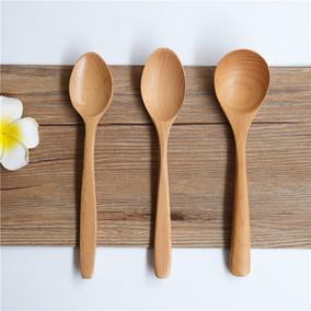 买一送一榉木小汤勺甜品点心木勺酒店高档餐饮饭勺学生木制餐具