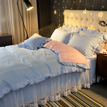 Jin Haoyi girl princess white gauze lace thickening plus velvet crystal cashmere bed skirt four-piece warm plush bed winter