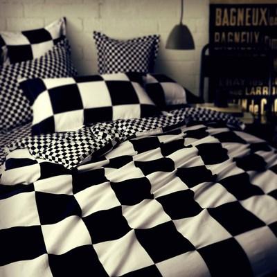 全棉格子星星条纹个性床单被套床笠4件套 简约纯棉黑白圆点四件套