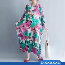 夏季新款文艺加肥加大码女装宽松胖妈妈藏肉胖MM长款XXXXXL连衣裙