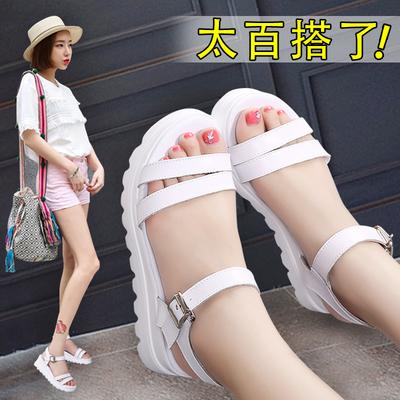 2018新款韩版学生女鞋百搭肥脚宽胖大码凉鞋女夏季41平底43坡跟40