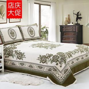 绿幽谷棉麻花团床单老粗布床单四季床单三件套双人折叠亚麻席1.8
