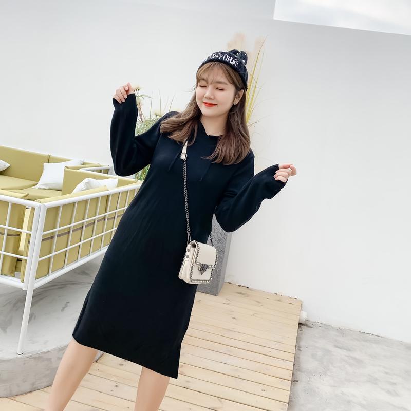 采多宝大码女装2019胖妹妹春装新款休闲连帽长款毛衣连衣裙MY0070