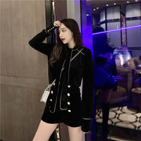 Fashion suit female autumn and winter bow tie velvet long-sleeved shirt temperament casual high waist shorts two-piece