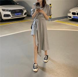 不规则设计感收腰连衣裙短袖高腰中长款裙子夏季2019新款过膝裙女图片
