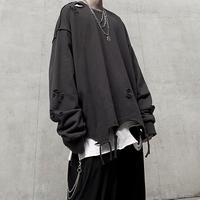 INS欧美高街嘻哈垂感宽松oversize慵懒纯色破洞男女套头卫衣KANYE