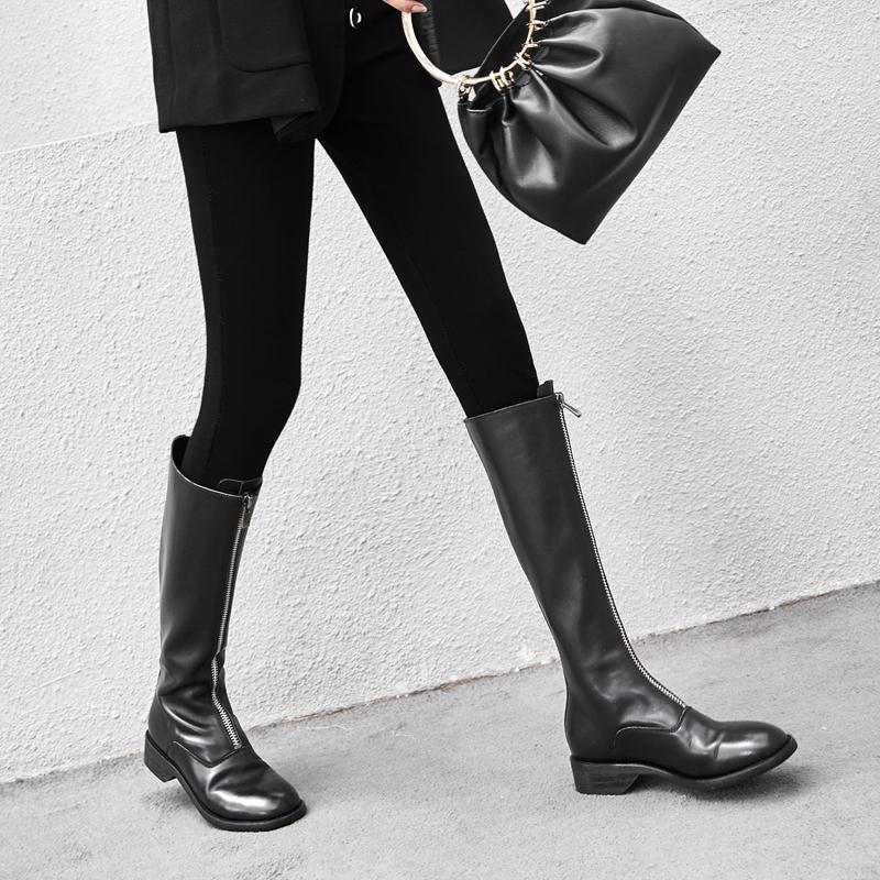 秋冬复古长筒马丁靴女骑士长靴前拉链真皮平底高筒靴及膝靴中筒靴