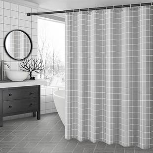 浴室浴帘防水布卫生间洗澡帘子挂帘加厚防霉隔断帘套装 免打孔门帘