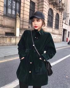 2017年冬季新款韩版绒料立领腰绑带中长款多纽扣保暖纯色外套女