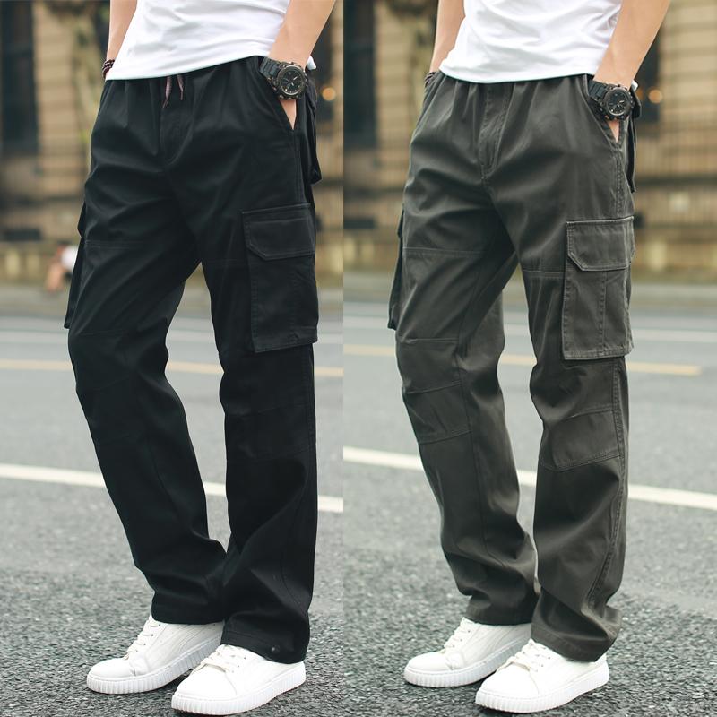 夏季薄款男士休闲裤男宽松工装裤男裤青年直筒加大码休闲裤运动男