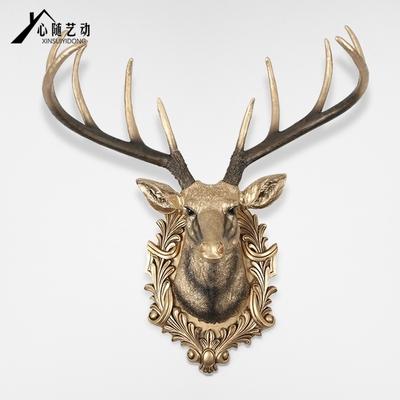 欧式鹿头壁挂复古壁饰客厅墙上装饰品立体壁挂饰家居挂饰大号挂件
