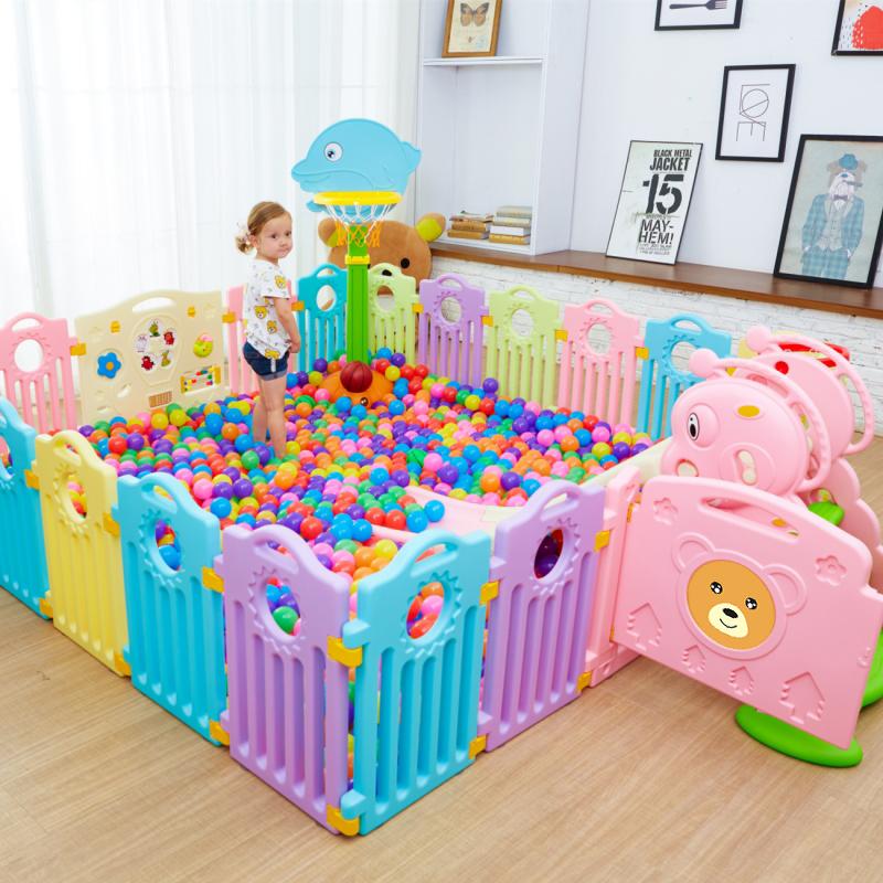 婴儿学步游戏围栏家用幼儿童室内安全爬行垫宝宝玩具塑料防护栅栏