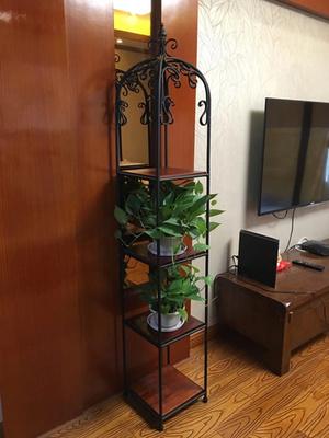 美式实木 四层铁艺复古花架落地多层阳台客厅置物绿萝花盆架花几哪里购买
