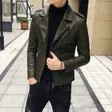 Autumn and winter new trend Slim short lapel leather jacket men's Korean youth student casual jacket shirt