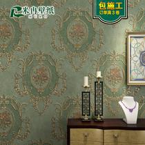 款墙纸AB卧室客厅电视背景简约无纺布素色精压田园美式复古壁纸