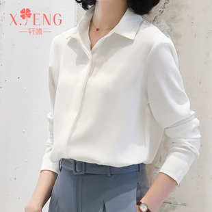2019新款雪纺白色衬衫女长袖宽松职业衬衣气质初秋上衣轻熟工作服