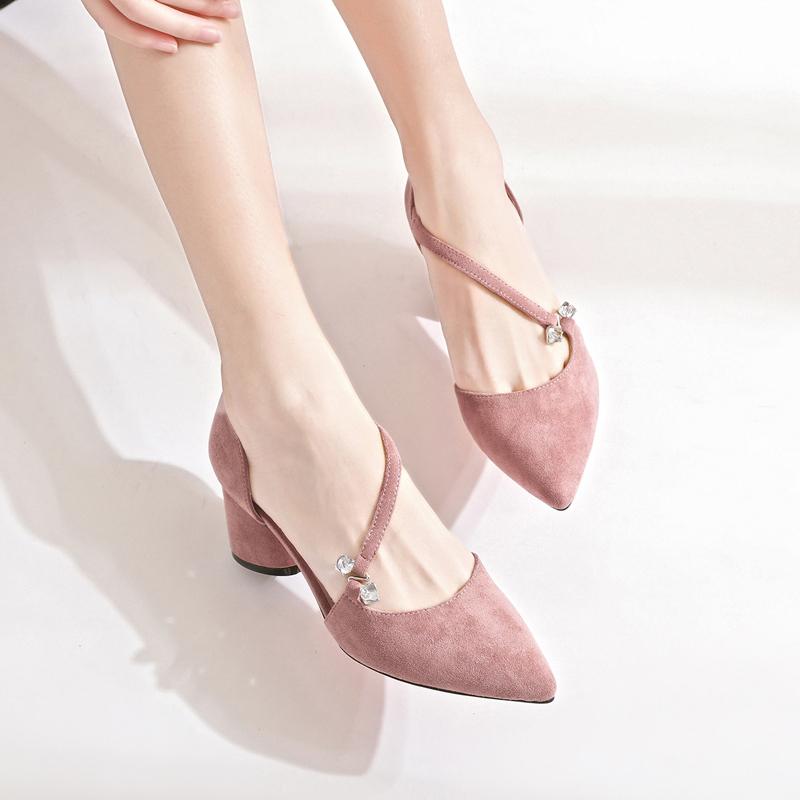卓诗尼2019新款高跟鞋女单鞋中跟春鞋粉色网红粗跟女鞋温柔秋仙女