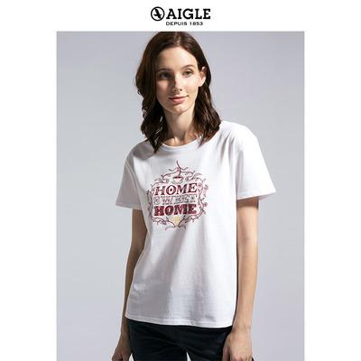【18春夏新品】AIGLE 艾高 女士圆领印花短袖T恤 NEWHOME S8