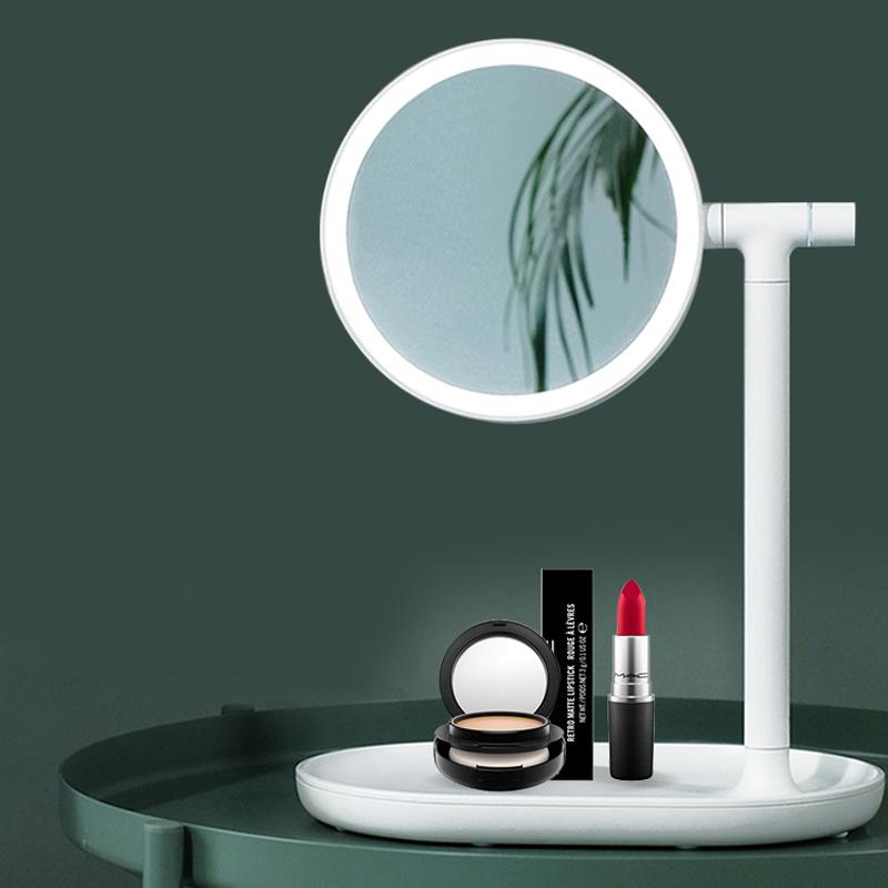 化妆镜台式led灯宿舍桌面梳妆镜网红补光化妆镜子带灯 情人节礼物