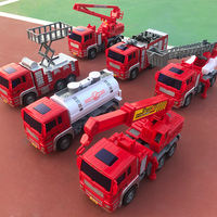 Large fall fire truck toy set child inertia car crane lift sprinkler truck car boy car